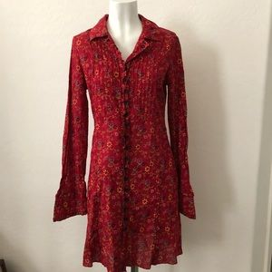 Free people red floral long sleeve dress